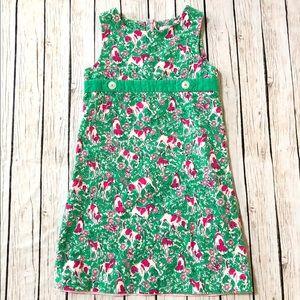 Lilly Pulitzer green pink dog print cord. Dress